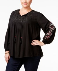 Styleandco. Style Co. Plus Size Embroidered Beaded Peasant Top Only At Macy's Floral Vine Black