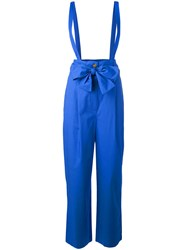 Semicouture Drawstring Dungarees Women Cotton 42 Blue