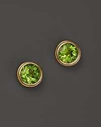 Bloomingdale's Peridot Bezel Set Stud Earrings In 14K Yellow Gold Green Gold