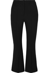 Alexander Wang T By Cropped Intarsia Cotton Blend Twill Flared Pants Black
