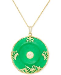 Macy's Dyed Jade 36Mm Symbolic Disc Pendant Necklace In 14K Gold Plating Over Sterling Silver Yellow Gold