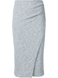Just Female Ribbed Knit Fitted Skirt Grey