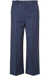 Versace Cropped Pinstriped Wool Twill Straight Leg Pants Indigo