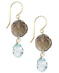 Macy's Smoky Quartz And Blue Topaz Double Drop Earrings In 14K Gold 15 1 2 Ct. T.W. Multi