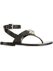 Versace Medusa Thong Strap Sandals Black
