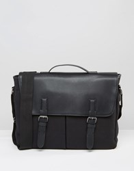 Asos Satchel In Canvas With Front Pockets Black
