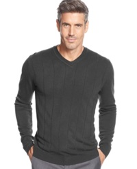 John Ashford Big And Tall Solid Long Sleeve V Neck Sweater Cindersmoke Heather