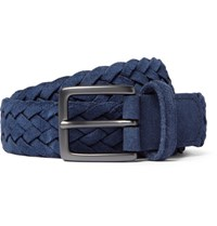 Andersons Anderson's 3Cm Blue Woven Suede Belt Navy