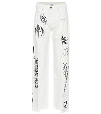 Vetements X Levi's High Rise Wide Leg Jeans White