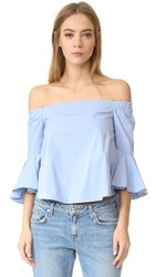 Endless Rose Ruffle Off Shoulder Top Powder Blue