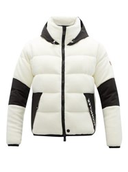 Moncler Grenoble Hooded Down Fleece Jacket White Multi