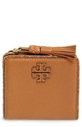 Tory Burch Women's Mini Leather Wallet Brown Saddle