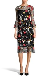 Eci Embroidered Bell Sleeve Dress Black Red