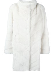 Yves Salomon Mid Length Fur Coat Nude And Neutrals