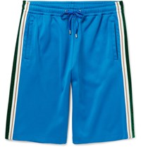 Gucci Wide Leg Faille And Velvet Trimmed Jersey Shorts Blue