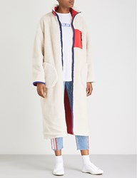 Sjyp Reversible Shearling Lined Shell Coat Red
