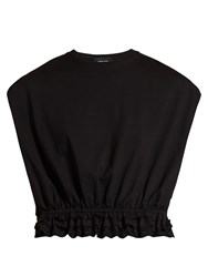 Simone Rocha Broderie Anglaise Trimmed Jersey T Shirt Black
