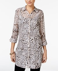 Jm Collection Petite Textured Animal Print Blouse Only At Macy's Water Cheetah