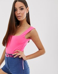 Prettylittlething Square Neck Slinky Body In Neon Pink