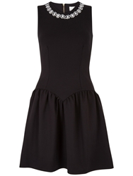 Almari Embellished Neck Dress Black