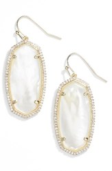 Kendra Scott Women's Elle Pave Drop Earrings Ivory Mop Gold