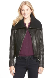 Mackage Knit Collar Belted Leather Jacket Black