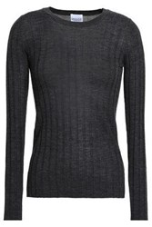 Madeleine Thompson Ribbed Wool And Cashmere Blend Top Charcoal