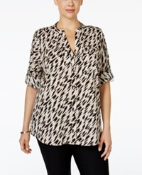 Calvin Klein Plus Size Printed Utility Shirt Animal Print