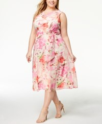 Jessica Howard Plus Size Floral Print A Line Dress Pink Multi