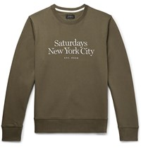 Saturdays Surf Nyc Bowery Logo Embroidered Loopback Cotton Jersey Sweatshirt Green