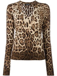 Dolce And Gabbana Leopard Print Jumper Brown