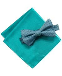 Alfani Basketweave Pre Tied Bowtie And Pocket Square Set Teal