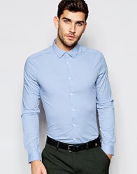 Asos Skinny Shirt In Blue With Long Sleeves Blue