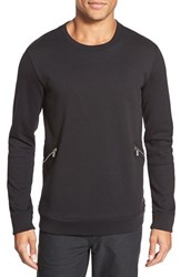 Men's Hugo 'Delay' Side Zip Crewneck Sweater