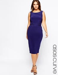 Asos Curve Midi Dress With Bow Back Blue