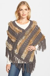 Women's Roffe Accessories Knit And Genuine Rabbit Fur Poncho Brown Taupe