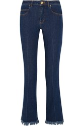 Sonia Rykiel Cropped Frayed Mid Rise Flared Jeans Mid Denim