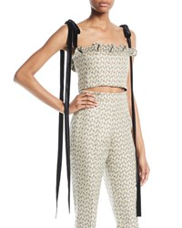 Brock Collection Floral Jacquard Bustier Cropped Top W Velvet Ties Gray
