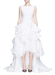 Maticevski 'Vanquished' Ruffle Tulle Skirt Mesh Effect Gown White