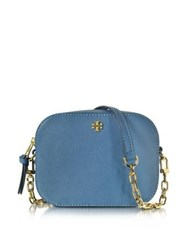 Tory Burch Robinson Saffiano Leather Round Crossbody Bag Wallis Blue