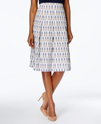 Charter Club Cotton Print Skirt Only At Macy's Bright White Combo