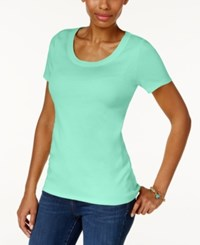 Charter Club Cotton Scoop Neck T Shirt Only At Macy's Aqua Gloss