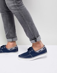 New Look Canvas Boat Shoe In Navy