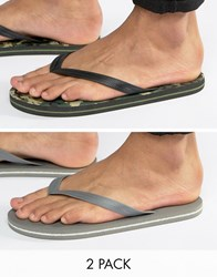Asos Flip Flops 2 Pack In Camo And Grey Save Multi