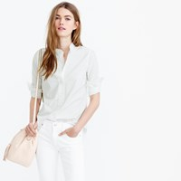 J.Crew Petite Ruffled Button Down Shirt In White