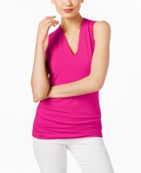 Inc International Concepts Ruched V Neck Top Only At Macy's Intense Pink