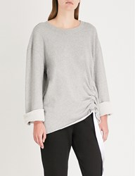 Stateside Drawstring Hem Cotton Jersey Sweatshirt Heather Grey