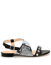 Carmen Marc Valvo Becky Embellished Leather Sandal Black