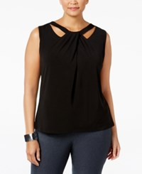 Nine West Plus Size Sleeveless Cutout Twist Front Top Black