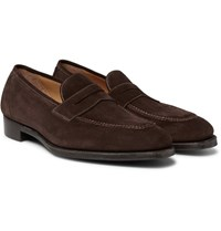 Gaziano And Girling Holkham Suede Penny Loafers Brown